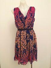 MATTHEW WILLIAMSON pink and blue print silk chiffon dress - size 12 $350 NEW!