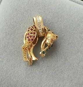 18k Yellow Gold Diamond Ruby Emerald Panther Pendant 1.6cm By 2.3 Cm