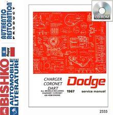 1967 Dodge Charger Coronet Dart Shop Service Repair Manual CD Engine Drivetrain