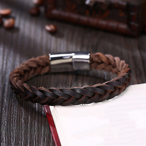 Mens Leather Bracelet Brown Braided Wristband Luxury Rustic Brown Leather Homme