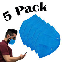 5 Pack Blue Face Mask 5 Layers MADE IN USA Filtration>95% Folding Respiratory