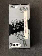Vintage Pilot Razor Point Ii Super Fine Marker Pens Sw R Black Ink 9 Count
