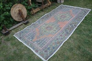 "Vintage Handmade Turkish Anatolian Oushak Rug 104""x51"", 265x130cm"