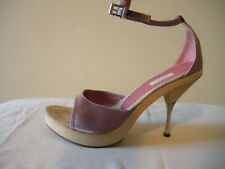 SEXY~! $365 PRADA Blush Pink Silk Mules Slides Platform Pumps Shoes ITALY 37 7M