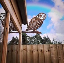 Rusty OWL Garden sign Ornament decoration feature Statue bird fence tree decor