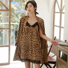 2PCS Women's Leopard Print Silk Robe Dressing Gown Bathrobe Lingerie & Nightwear