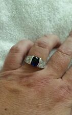 Artisan's  Blue Sapphire & Cz's Sz  9 1/2  Ring  set in White Gold filled New