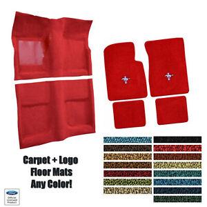 Custom Carpet & Matching Floor Mat Set w/Pony Logo 1965-68 Mustang Convertible