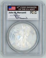 2013 $1 1 OZ Silver Eagle MS70 PCGS First Strike John Mercanti signed flag label