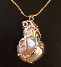 15.90CT Huge Natural Baroque Fresh Water Pearl Pendant 14k Gold Over  Silver