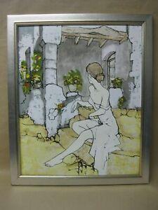 Oil / Acrylic on Canvas ~ Girl in Garden ~ Bernard Dufour