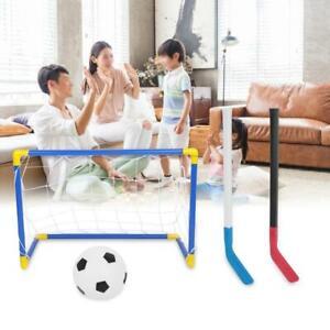 2IN1 Kinder Fußball Hockey Set Tor Netz Sport+Eishockeyschläger+Fußball+Pumpe DE