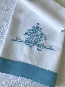 Antique Linen Towel White with Blue Borders and Floral Bouquet Embroidery