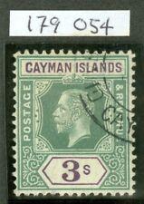 SG 50 Isole Cayman 1912-20 3/- Green & Violet. USATA in perfetta condizione GATTO £ 75. RPS CER