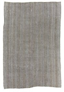 7.8x11.5 Ft Cotton and Goat Hair Kilim Rug - Flatwoven Floor Covering