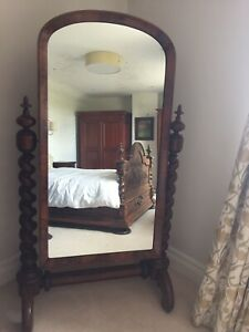 Antique Victorian Flamed Mahogany Cheval / Floor Standing Mirror