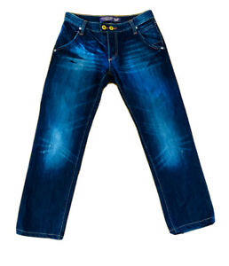 Christian Audigier Jeans W31 L34 Mid Wash Pocket Detail Button Fly Distressed
