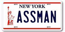 Seinfeld Cosmo Kramer ASSMAN Prop Replica Aluminum License Plate Tag Gift New