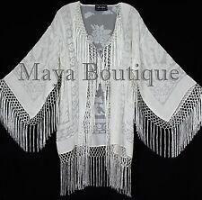 Maya Matazaro Ivory Fringes Jacket Kimono Short Coat Silk Burnout Velvet