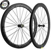 50mm Clincher Carbon Wheels Road Bike Front+Rear Clincher 25mm Bicycle Wheelset
