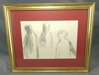 Rare Robert Marx 1962 Figures Pencil Paper Drawing Framed Matted Listed Artist