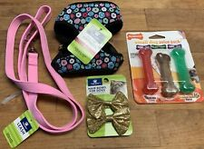 5 Pc XS Toy Breed Dog Cat Leash Flowered Harness Lot *Nylabones & Bows *Charity