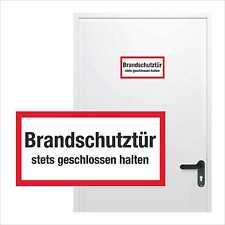 1 Aufkleber Brandschutztür stets geschlossen halten 21x10,5 cm Türschild Sticker