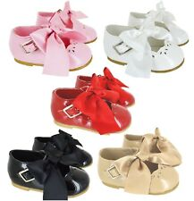 69c5e4a04118 KIDS BABY INFANTS GIRLS SATIN BOW SPANISH WEDDING PARTY PATENT TOODLER SHOES  SZ
