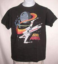 STAR WARS Kids Childrens Size Medium T-Shirt Black X-Wing & Death Star BRAND NEW