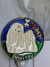 """STAINED GLASS STYLE """" Shih Tzu """" DOG NIGHT LIGHT- GREAT GIFT FOR ALL OCCASIONS !"""
