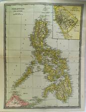 PHILIPPINE ISLANDS MAP 1912 VINTAGE SCIENTIFIC AMERICAN ATLAS PAGE