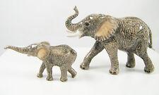Hand Painted Miniature Elephant with baby calf figurine Set/2