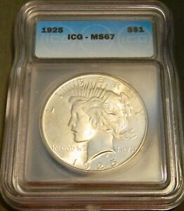 1925 Silver Peace Dollar ICG Graded MS67!
