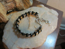 LUCKY BRAND Silver Brass tone Faux Onyx Black Faceted Crystal Linked BRACELET