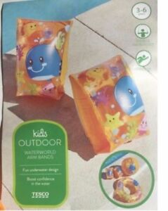 Kids Outdoor World Armbands Ages 3-6 Years Pink Orange or Yellow Whale Picture