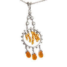 CIRCLE PENDANT YELLOW SAPPHIRE WITH 3 BRIOLETTE'S 2.50 CT ROUND DIAMOND PENDANT
