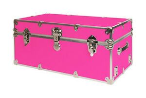 SecureOnCampus Dorm Trunks NEON PINK includes 2 wheels and engraved nameplate