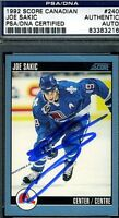 JOE SAKIC SIGNED PSA/DNA CERTED 1992 SCORE AUTOGRAPH