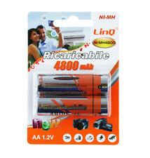 Confezione 2 Pile Batterie Ricaricabili Stilo AA 4800mah 1.2v Linq Ni-mh4800