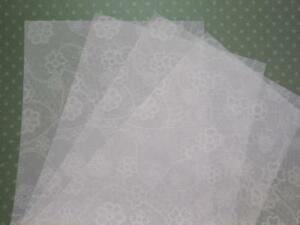 Vellum Translucent Lace Print Paper A4 100gsm 25 or 10 Sheets for Arts & Crafts