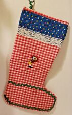 """Vintage Quilt Red & White Fabric Christmas Stocking Hand Made 1970's Girls 20"""""""