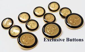 Gold Metal Blazer Buttons Set - Anchor