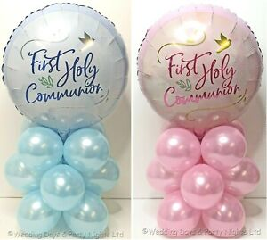 First 1st Holy Communion Foil Balloon Kit Party Table Decoration No Helium Req