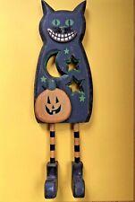 Halloween BLACK CAT Hand Painted Wood Figure Rustic FOLK ART Pumpkin Home Decor2