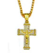 Mens 14k Gold Plated Jesus Cz Cross Pendant Hip-Hop Box Necklace Chain