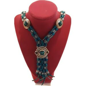 Turquoise leather cording beaded Bolo tie Silver tone accents