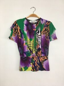 TBAGS LA Short Sleeve Round Neck Floral Printed Crop Blouse Top Multi S $198 B4
