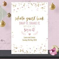 Personalised Wedding Photo Guest Book Sign Pink and Gold Effect GFP60