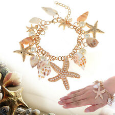 Fashion Lots Starfish Sea Stars Conch Shell Pearl Beach Charms Pendant GA