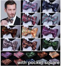 Paisley Floral Mens 100% Silk Bow Ties Wedding Self Bow Tie handkerchief Set EFC